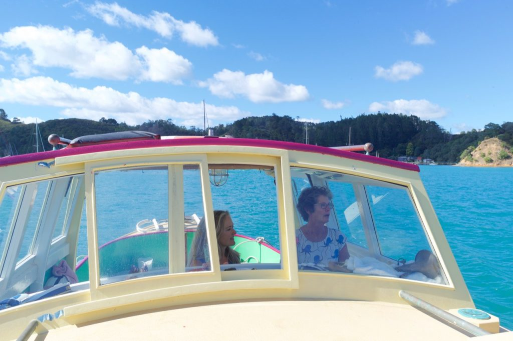 Elizabeth Easther with Kawau Islander Jill Hetherington during filming for the remake of the classic 1964 documentary on the Hauraki Gulf.