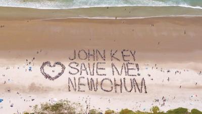 Beach-goers send a message