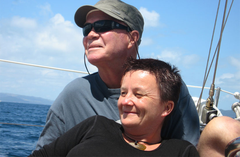 Jo Ritchie and Chris Roberts in the Hauraki Gulf